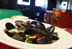 Pub-style mussels, a sample sized beer, and a Bloody Mary - MT PHOTO: ROB WIDDIS