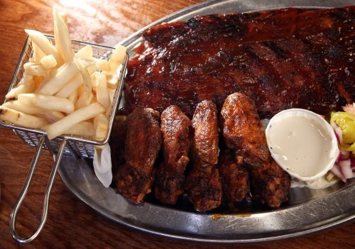 Rib and Wing Combo from Sweetwater Tavern in Detroit.