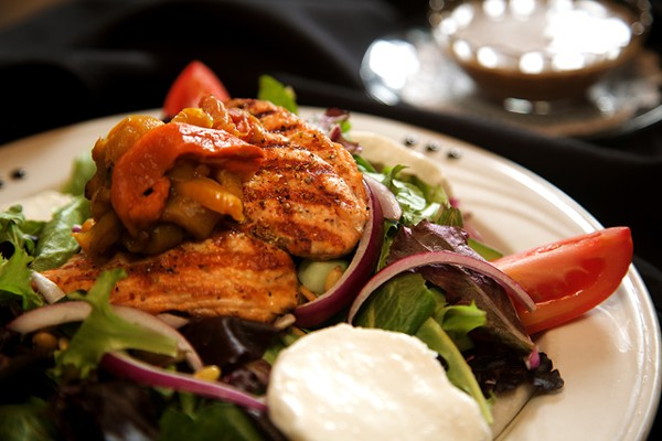 Salmon fillet salad from Lucy in the Sky with Diamonds in Grosse Pointe Farms. - MT PHOTO: ROB WIDDIS