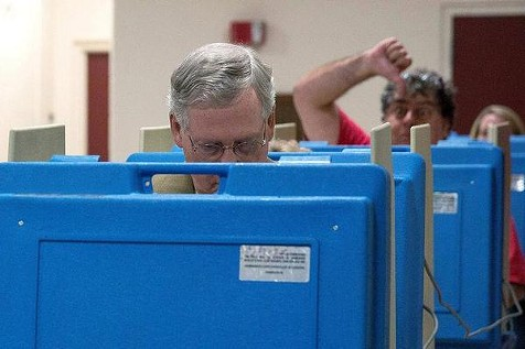 Senate Minority Leader Mitch McConnell picked a ripe time to vote today. - VIA TWITTER