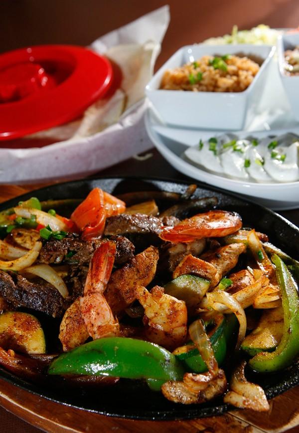 Steak and shrimp fajitas - ROB WIDDIS