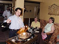 The Cook's Shop: Proprietor Lino Catropa serves spaghetti alla chitarra matriciana (guitar pasta with garlic, bacon, cognac, tomato sauce and Parmesan cheese). - METRO TIMES PHOTO / LARRY KAPLAN