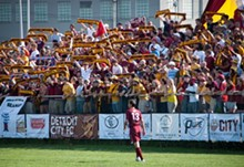 The Detroit City FC playing on its home turf, Cass Tech High School. - PHOTO COURTESY OF DETROIT CITY FC