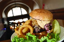 The Foran Burger with corned beef, Russian dressing, Swiss cheese and the Poet stout kraut from Foran's Grand Trunk Pub in Detroit.