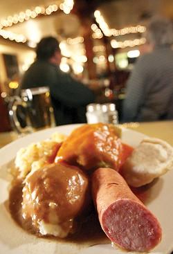 "The ""Polish Plate"": Kielbasa, mashed potatoes, sauerkraut, stuffed cabbage and pierogi. - MT PHOTO: ROB WIDDIS"