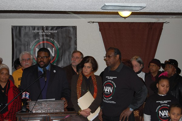 """The Rev. Charles E. Williams, president of the National Action Network's Michigan chapter, speaks at a press conference Monday announcing the """"People's Alternative Plan: Toward a Sustainable Detroit,"""" an alternative to the bankruptcy-exit plan filed by Detroit Emergency Manager Kevyn Orr last week. - PHOTO BY RYAN FELTON."""