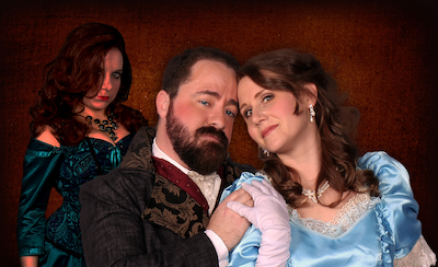 The show features Sara Rydzewski of Royal Oak as Lucy, Josh Allor of Mount Clemens as Jekyll (and Hyde), and Nancy Ingles of Grosse Pointe Park as Emma. - PHOTO BY LANCE LUCE