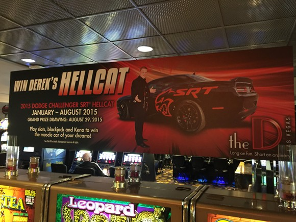 This billboard announcing a contest to win Stevens' Dodge Challenger strikes us a nod perhaps to Detroit's automotive history. - VIA RICK LAX.