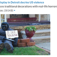 Halloween display scares trick-or-treaters with inner-city horrors