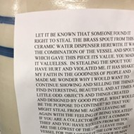 The passive-aggressive note a Michigan antique store owner put on this ceramic jug is the darkest, bleakest thing we've read all week