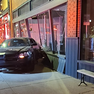 A Dodge Charger crashed into Detroit venue Trinosophes