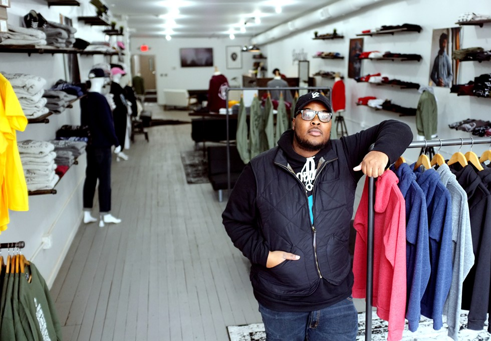 Oaklin Mixon stands in his recently opened GoodBoy Clothing store. - SCOTT ATKINSON