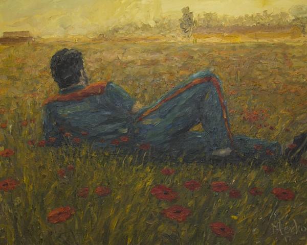 PRISONER ON A FIELD OF FLOWERS, BY OLIGER MERKO OIL ON CANVAS.