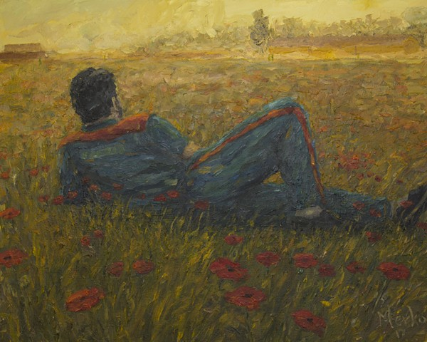 PRISONER ON A FIELD OF FLOWERS, BY OLIGER MERKO OIL ON CANVAS.