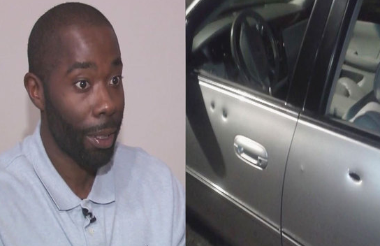 DeMar Parker and his bullet-riddled vehicle. - COURTESY WJBK-TV