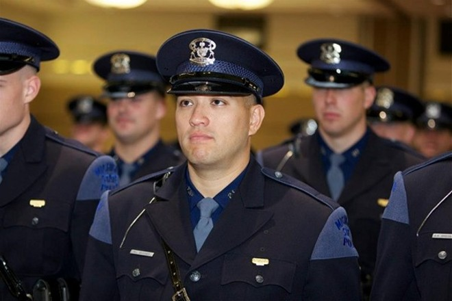 Ex-trooper Mark Bessner during his Michigan State Trooper graduation in 2012. - MICHIGAN STATE POLICE FACEBOOK PAGE