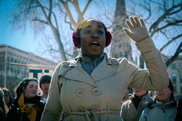 Siwatu-Salama Ra, then 15 years old, pictured speaking at an environmental justice rally in Wisconsin. - SHADIA FAYNE WOOD/SURVIVAL MEDIA