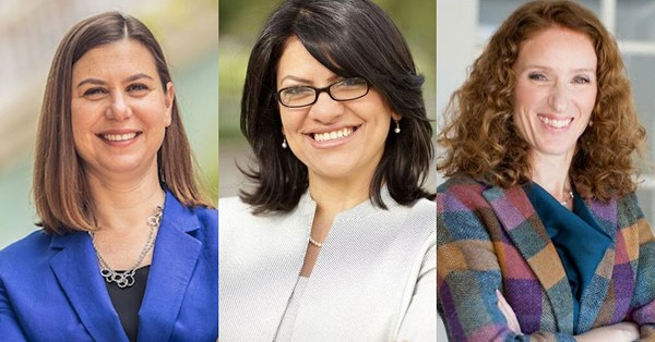 From left: Elissa Slotkin, Rashida Tlaib, and Ellen Cogen Lipton. - COURTESY PHOTOS