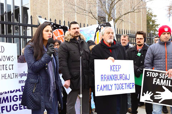 Supporters of the Rranxburgaj family rally in January outside Central United Methodist Church, where father Ded has been given sanctuary. - FACEBOOK, CENTRAL METHODIST CHURCH DETROIT