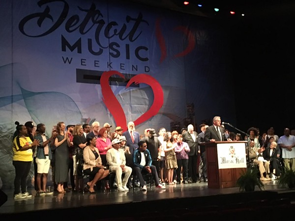Detroit Music Weekend founding director Vince Paul announces details during a press conference. - LEE DEVITO
