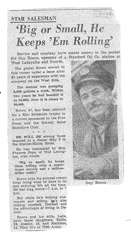 A short feature on Guy Rocco in the Detroit Free Press. - COURTESY PHOTO