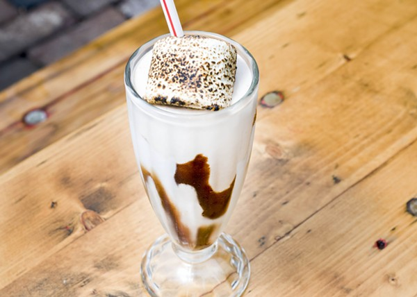 S'mores shake with a lightly charred marshmallow at Mercury Burger Bar. - TOM PERKINS