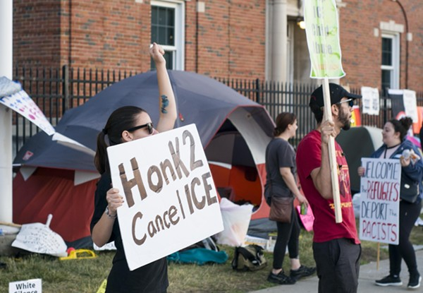 """'Occupy ICE' protesters camped outside Detroit's ICE field office in the run up to the """"Families Belong Together"""" rally on June 30. - VIOLET IKONOMOVA"""