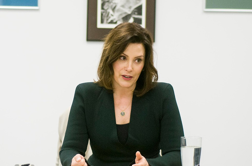 Gretchen Whitmer visits the Metro Times office.