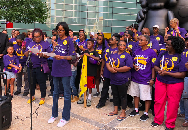 Detroit janitor represented by the SEIU joins in announcing vote to strike if demands for $15-an-hour minimum wage aren't met. - TWITTER, @SEIULOCAL1