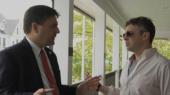 Sen. Patrick Colbeck interviewed by filmmaker Barton Bund in Mackinac. - COURTESY PHOTO