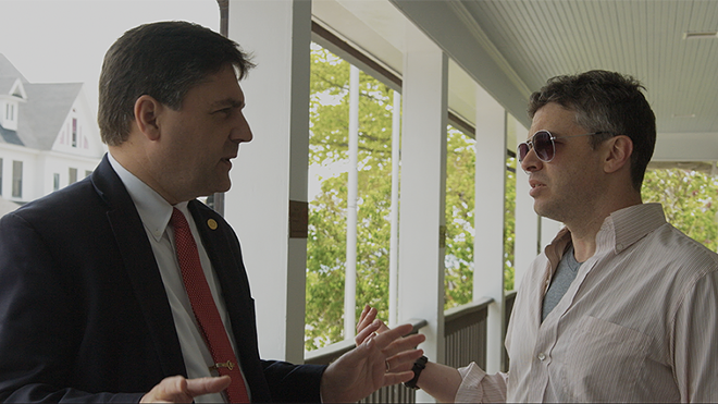 Sen. Patrick Colbeck interviewed by filmmaker Barton Bund in Mackinac. - COURTESY PHOTO