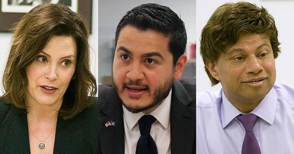 From left: Gretchen Whitmer, Abdul El-Sayed, and Shri Thanedar. - MT FILE PHOTOS