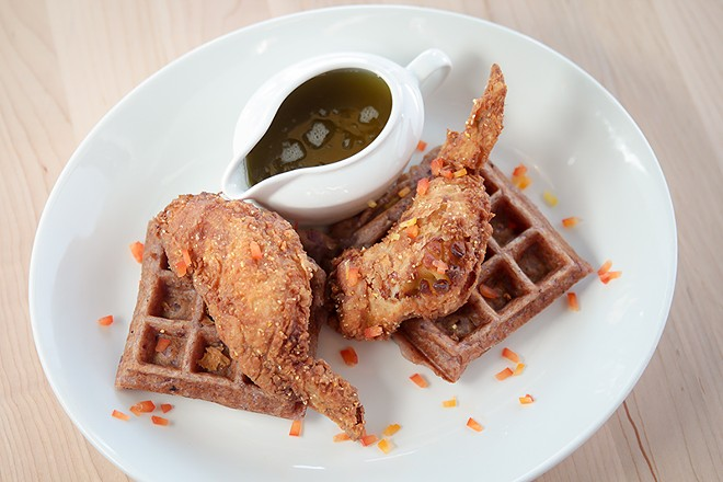 Chicken and waffles from Forty Acres and a Mule. - COURTESY PHOTO