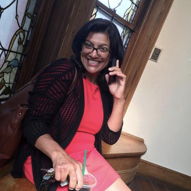 Rashida Talib takes a call from Sen. Bernie Sanders after winning her Aug. 7 primary race. - RASHIDA TALIB/TWITTER