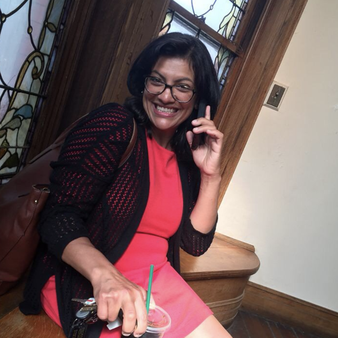 Rashida Talib takes a call from Sen. Bernie Sanders after winning her Aug. 7 primary race. - RASHIDA TALIB/TWITTER