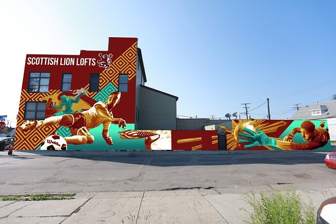 Rendering of DCFC mural being painted off Joseph Campau in Hamtramck. - COURTESY PHOTO