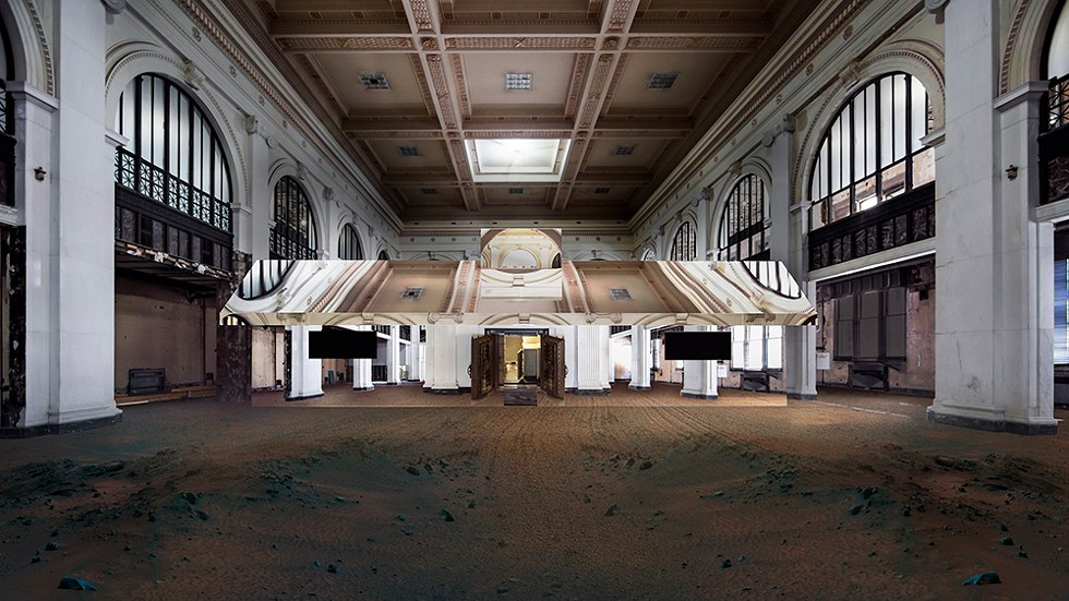 "Doug Aitken's ""Mirage Detroit"" is set to transform the interior of Detroit's long-abandoned State Savings Bank on Oct. 10. - ARTIST'S RENDERING"