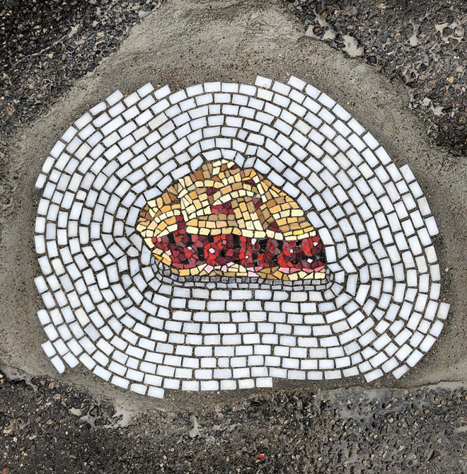"""Cherry Pie"" mosaic is located at 1520 Alfred in Eastern Market. - JIM BACHOR"