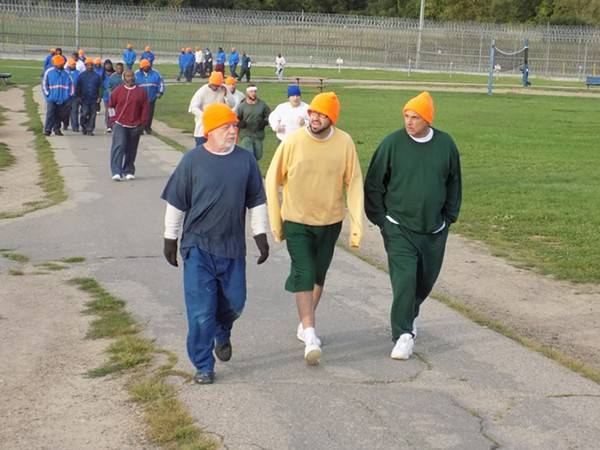 Inmates at Cotton during the 5K race. - COURTESY OF CHADTOUGH