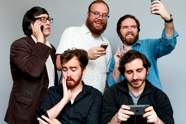 The gentlemen of Chapo Trap House. Clockwise from top left: Virgil Texas, Matt Christman, Will Menaker, Felix Biederman, and producer Brendan James. Not pictured: Amber A'lee Frost. - COURTESY PHOTO