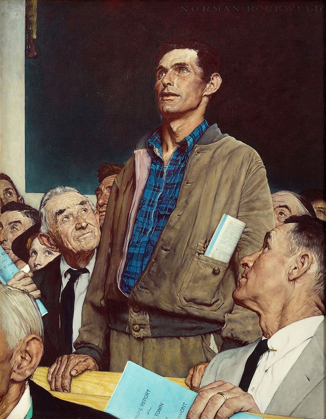 Norman Rockwell (1894-1978), Freedom of Speech, 1943. Story illustration for The Saturday Evening Post, February 20, 1943. - COLLECTION OF NORMAN ROCKWELL MUSEUM. ©SEPS: CURTIS LICENSING, INDIANAPOLIS, IN. ALL RIGHTS RESERVED. CURTISLICENSING.COM
