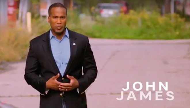 John James, the Republican candidate running for senate against Debbie Stabenow. - SCREENGRAB