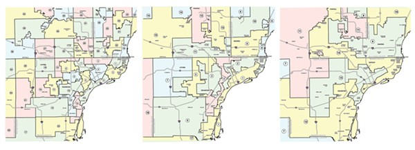 Gerrymandering at work— from left: Metro Detroit's State House Districts, State Senate Districts, and United States Congressional Districts. - SOURCE: MICHIGAN.GOV