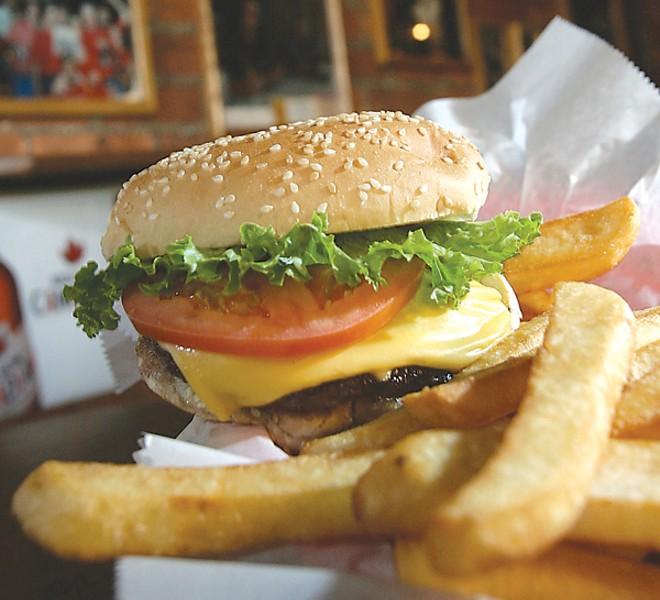 Burger and fries at the Anchor Bar. - ROB WIDDIS