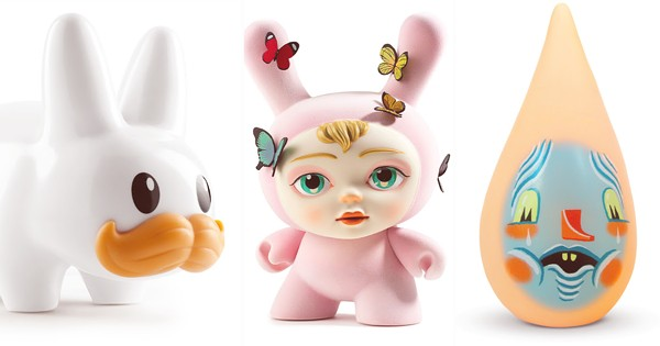 From left: Frank Kozik, White Stached Labbit, 2015. Courtesy of Kidrobot; Mab Graves, The Dreamer, 2017. Courtesy of Kidrobot; Travis Lampe, Tear Drips – Garth, 2009. - COURTESY OF SQUIBBLES INK + ROTOFUGI