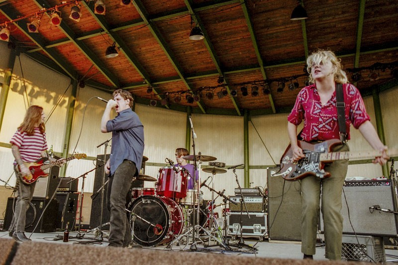 The Hyenas opening up for Fugazi on Sept 4, 1993 at the Phoenix Plaza Amphitheater in Pontiac. - DOUG COOMBE