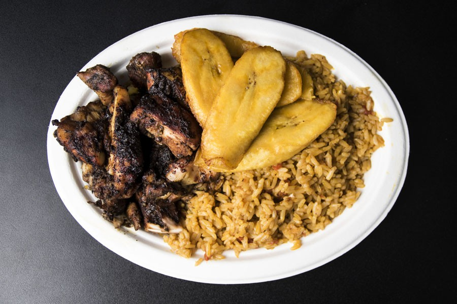 Jerk chicken and plantains from Yum Village. - MIKE DAVIS