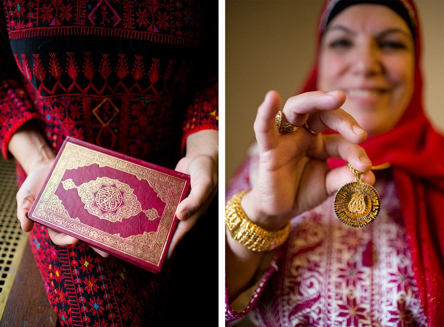 """Left: Contrary to what was widely reported, Tlaib was not sworn in using a Quran once owned by Thomas Jefferson. """"I used my own personal Quran that my best friend of 25 years gifted me to use for the ceremonial swearing in,"""" she says. """"I did not use Jefferson's Quran as reported. I wanted it to be more personal and my own."""" -  - Right: Tlaib and her mother each wear thobes, a traditional Palestinian garb, for the swearing-in ceremony. """"My Yama shined in her Palestinian thobe,"""" Tlaib says. """"Growing up in Detroit taught me strength, and she taught me to be compassionate."""" - ERIK PAUL HOWARD"""