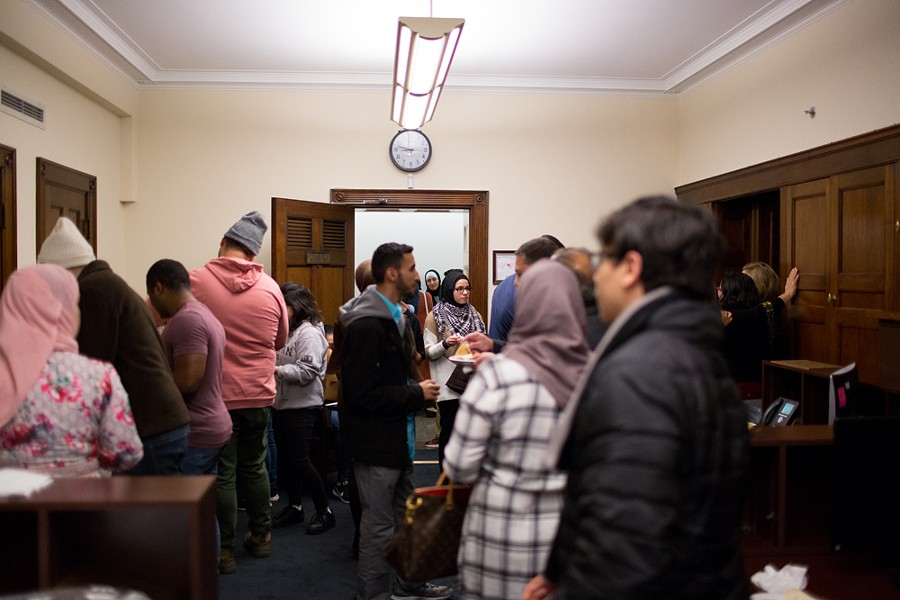 More than 100 constituents and supporters visit the new office in the morning before the swearing in of the 116th Congress. - ERIK PAUL HOWARD