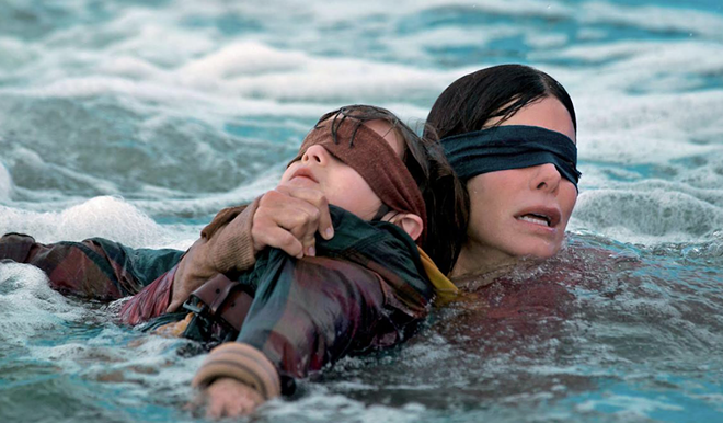 Sandra Bullock in Netflix's Bird Box, based on Josh Malerman's novel. - NETFLIX